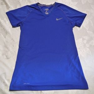 Nike Pro Combat Dri Fit Medium Royal Blue Shirt
